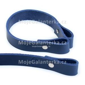 Popruh kožený, 30cm, HANDMADE, modrý
