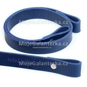 Popruh kožený, 60cm, ruční práce, modrý