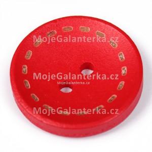 Knoflík dřevěný 20mm, circle, červený