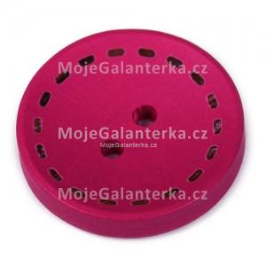 Knoflík dřevěný 20mm, circle, fialovo-růžový
