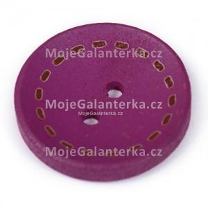 Knoflík dřevěný 20mm, circle, fialový