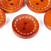 Knoflík dřevěný 20mm, circle, oranžový tmavý