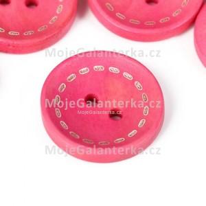 Knoflík dřevěný 20mm, circle, růžový