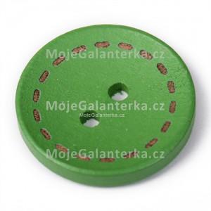 Knoflík dřevěný 20mm, circle, zelený