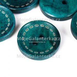 Knoflík dřevěný 20mm, circle, zelený tmavý