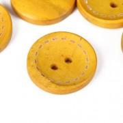 Knoflík dřevěný 20mm, circle, žlutý