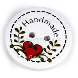 Knoflík dřevěný, 23mm, Handmade, bílý