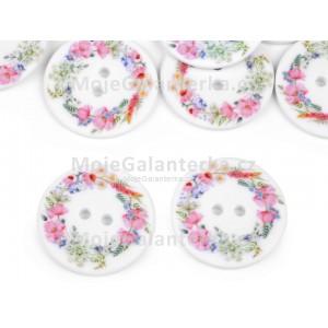 Knoflík plastový, 30mm, bílý s květy, světlý