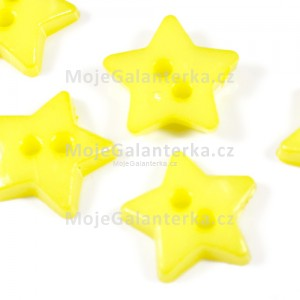 Knoflík plastový 12mm, hvězda, žlutá světlá