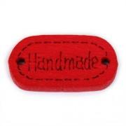 Knoflík dřevěný, handmade, 19x12mm, červený