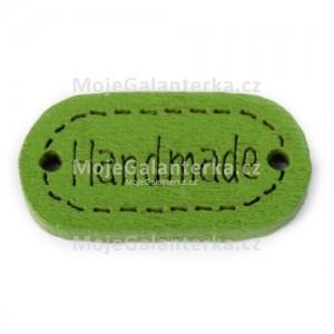 Knoflík dřevěný, handmade, 19x12mm, zelený