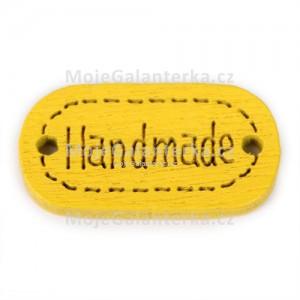 Knoflík dřevěný, handmade, 19x12mm, žlutý
