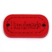 Knoflík dřevěný, handmade, 24x12mm, červený