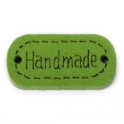 Knoflík dřevěný, handmade, 24x12mm, zelený