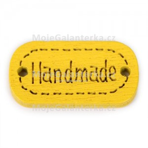 Knoflík dřevěný, handmade, 24x12mm, žlutý