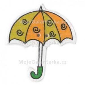 Knoflík dřevěný, deštník, 3cm, č.17