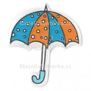 Knoflík dřevěný, deštník, 3cm, č.18