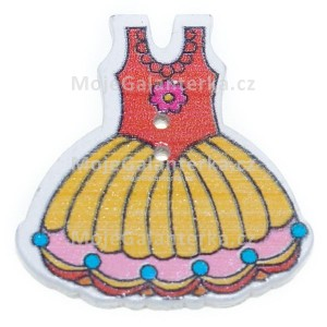 Knoflík dřevěný, šaty, 29x30mm, ST08