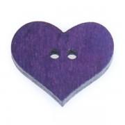 Knoflík dřevěný, srdce, 19x16mm, fialové