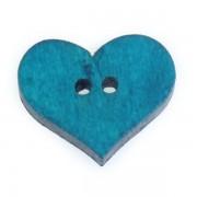 Knoflík dřevěný, srdce, 19x16mm, modrozelené