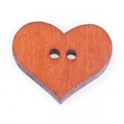 Knoflík dřevěný, srdce, 19x16mm, oranžové