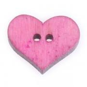 Knoflík dřevěný, srdce, 19x16mm, růžové sv.