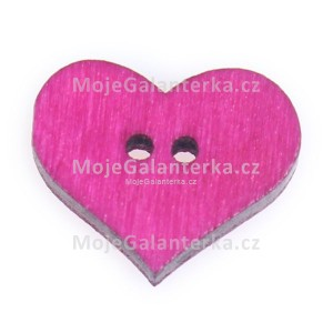 Knoflík dřevěný, srdce, 19x16mm, růžové tm.