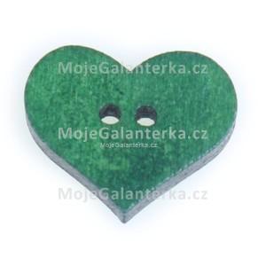 Knoflík dřevěný, srdce, 19x16mm, zelené