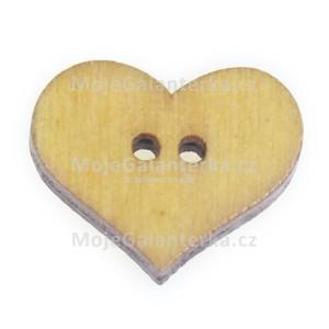 Knoflík dřevěný, srdce, 19x16mm, žluté