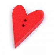 Knoflík dřevěným, srdce, 21x33mm, červené