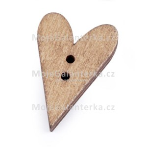 Knoflík dřevěným, srdce, 21x33mm, přírodní