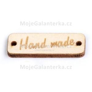 Knoflík dřevěný, handmade, 30x10mm, přírodní