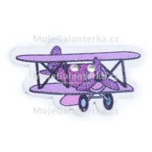 Knoflík dřevěný, letadlo, 32x20mm, fialové