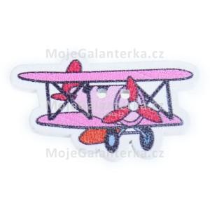 Knoflík dřevěný, letadlo, 32x20mm, růžové