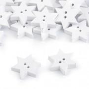 Knoflík, 19mm, hvězda, dřevěný dekorační, bílá