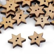 Knoflík, 19mm, hvězda, dřevěný dekorační, buk