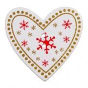 Knoflík dřevěný, srdce, 35x33mm, bílé s vločkami