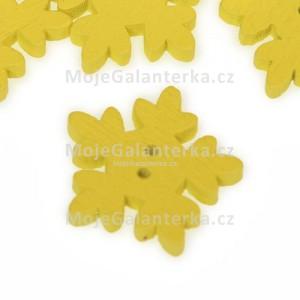 Knoflík dřevěný, sněhová vločka, 18mm, žlutá