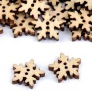 Knoflík dřevěný, sněhová vločka, 18mm, přírodní