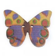 Knoflík dřevěný, motýl, 19x25mm, ST08