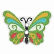Knoflík dřevěný, motýl, 24x17mm, zelený