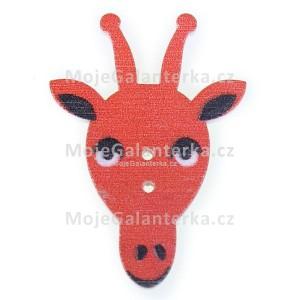 Knoflík dřevěný, žirafa, 23x33mm, červená