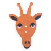 Knoflík dřevěný, žirafa, 23x33mm, oranžová