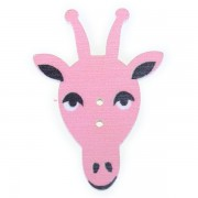 Knoflík dřevěný, žirafa, 23x33mm, růžová sv.