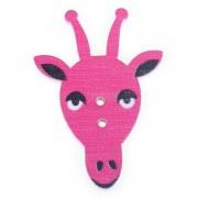 Knoflík dřevěný, žirafa, 23x33mm, růžová tm.