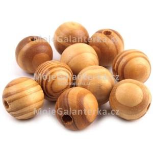 Korálky dřevěné 20mm, Strip, borovice světlá
