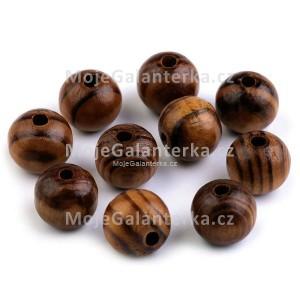 Korálky dřevěné 16mm, Strip, borovice tmavá
