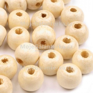 Korálky dřevěné, Ø10 mm, béžové světlé (20ks)