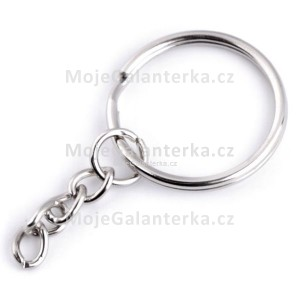 Kroužek na klíče, Ø25 mm, s řetízkem, světlý nikl
