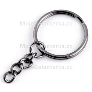 Kroužek na klíče, Ø25 mm, s řetízkem, tmavý nikl